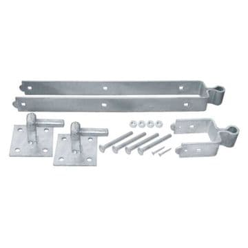 """24"""" GALVANISED DOUBLE STRAP FIELD FARM GATE HINGE SETS with HOOKS ON PLATES"""